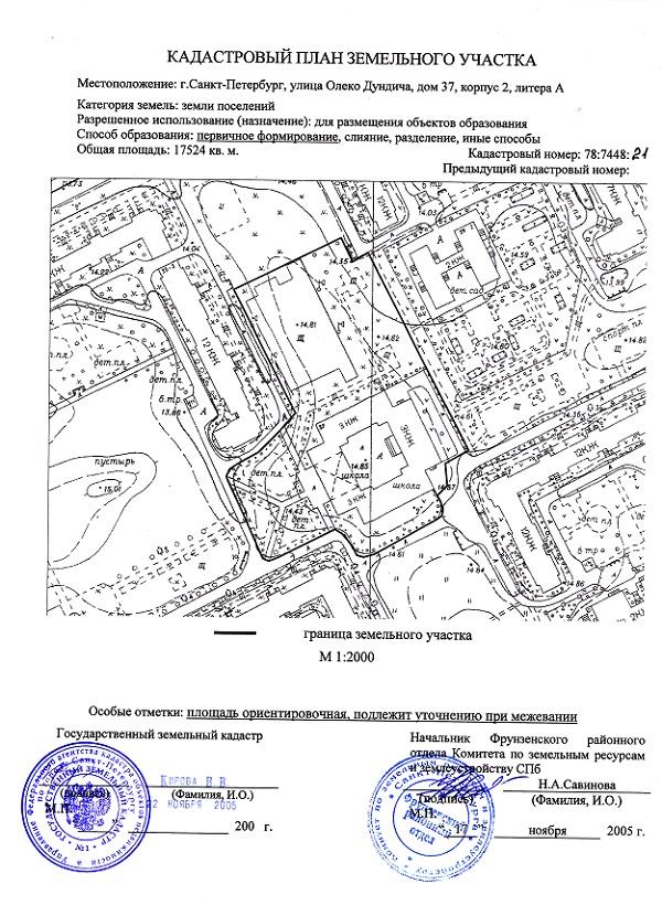 Кадастровый план земельного участка.